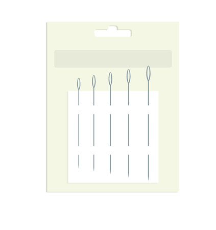 slight: sewing needles on packaging with slight shadow on a white background