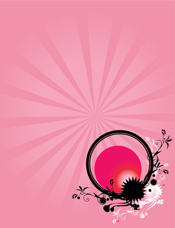 Pink ray background with abstract floral circle design in pink black and white Illustration
