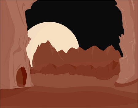 Pink and brown red landscape with large moon at night Illustration