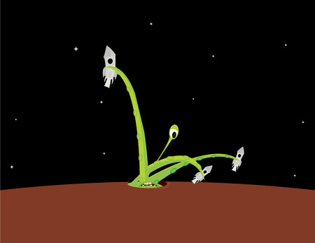 Green one eyed alien holding three spaceships in its tentacles in a star filled night scene