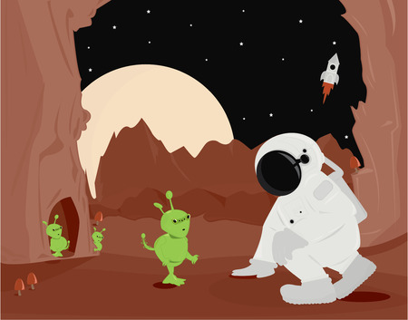 Scifi scene with green aliens astronaut and rocket on an alien landscape Vector