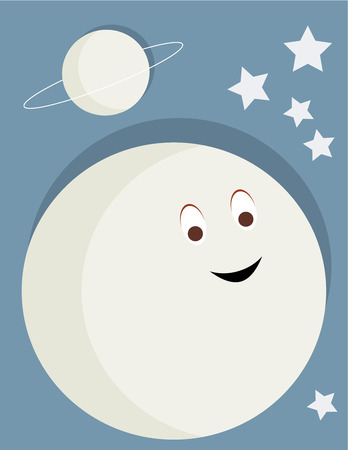 Smiling moon with planet and stars on a blue background Illustration