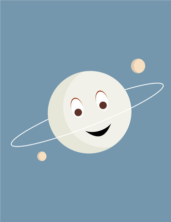 Smiling planet with twp moons on a blue background