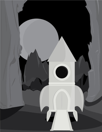 mountainous: Space rocket on the surface of an alien planet