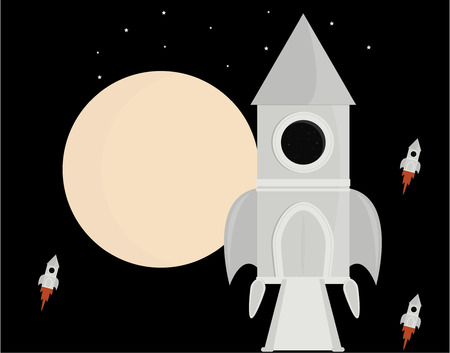 Space rocket moving through space with moon Illustration