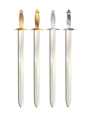 gold and silver handled swords with gray shadows on a white background