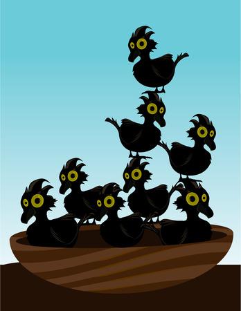푸른 하늘 앞의 둥지에있는 8 마리의 작은 새들.