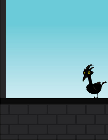 Black bird on a gray brick wall with a blue sky