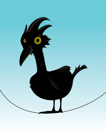 Black bird standing on a thin wire on a blue gradient background