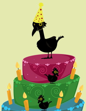 Large and small black birds on a brightly colored three tier birthday cake with candles Illustration