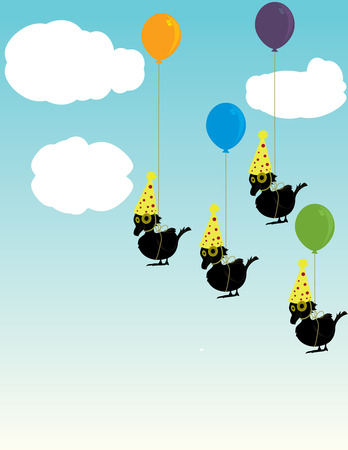 Small birds wearing paper party hats tied to balloons floating in the sky