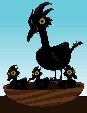 Black bird in a nest with three baby chicks