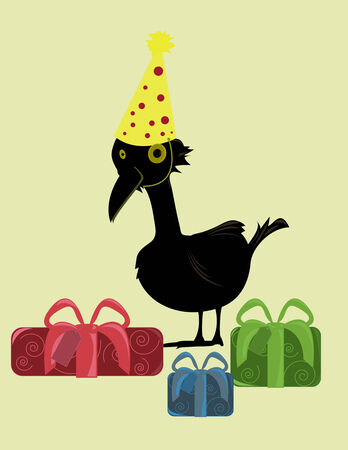 Black bird in party hat surrounded by presents on a tan background