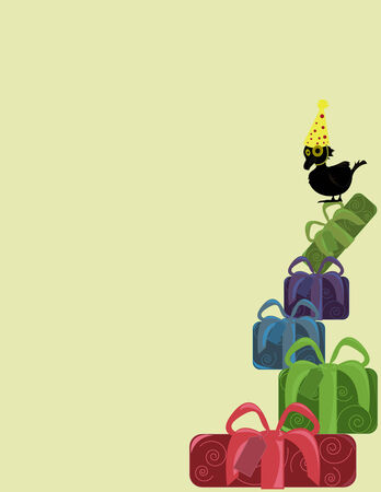 Black bird in party hat on top of a stack of presents on a tan background