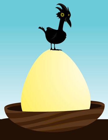 Black bird on a gigantic egg in a nest Illusztráció