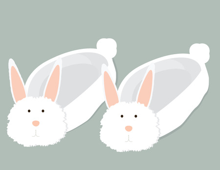 Fluffy white bunny slippers with slight shadow on a gray background Ilustrace