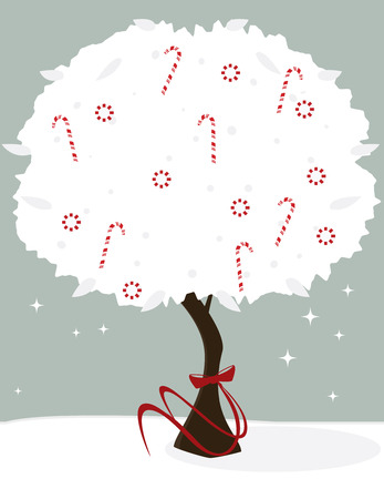 White tree with peppermints and candy canes tied with a red bow