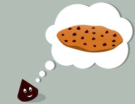 Smiling chocolate chip thinking of a chocolate chip cookie all on a gray background Illustration
