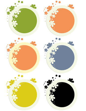 Round floral stickers on a white background Illustration
