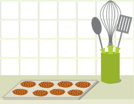 Bandeja de cookies de chispas de chocolate en un mostrador con una pila de placa y un contenedor de utensilios de cocina Foto de archivo - 6468283