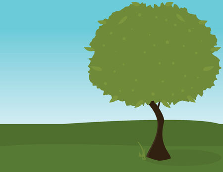 Green tree with shadow on grass in front of a blue sky Illustration