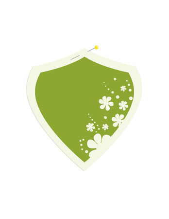Shield frame with a green center and flower decoration secured with a pin to a white background Illustration