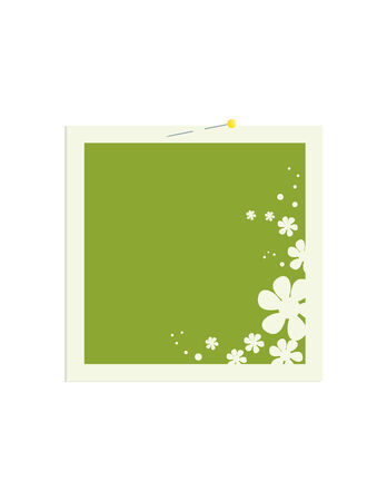 secured: Square frame with a green center and flower decoration secured with a pin to a white background