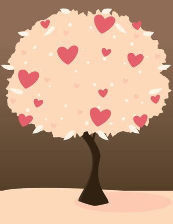 Roze hart boom op roze land met donkere hemel
