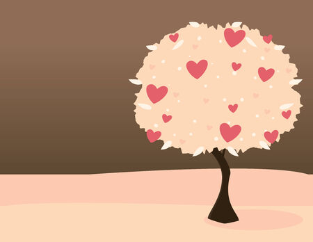 Pink heart tree on pink land with dark sky