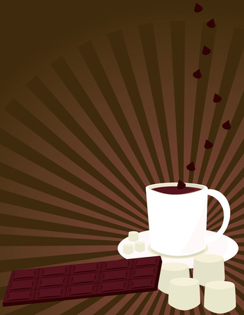 White mug of hot chocolate with chocolate bar and marshmallows on a brown ray background