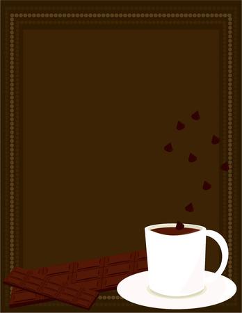 Blanc tasse de chocolat chaud avec une barre de chocolat et de grains de chocolat sur un fond de ray brown Banque d'images - 6468314