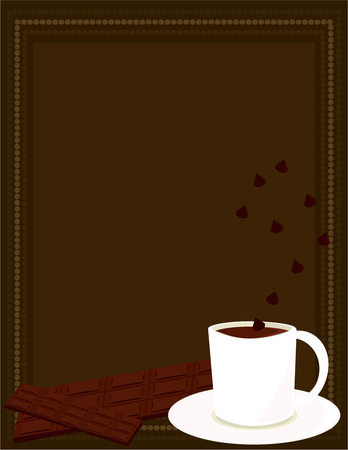 White mug of hot chocolate with chocolate bar and chocolate chips on a brown ray background