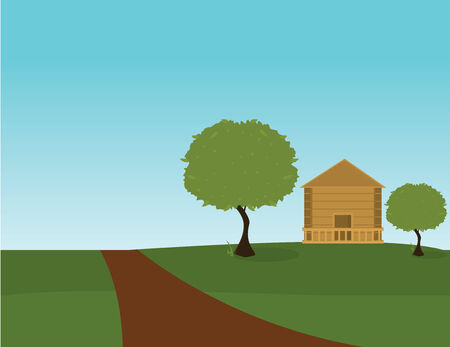 dirt road: Landscape with dirt road trees and house