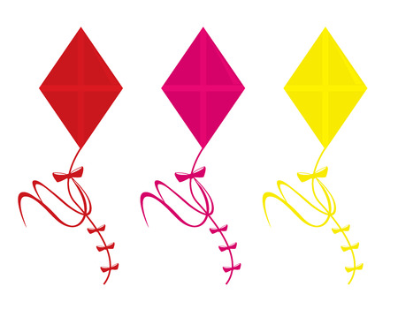 Three kite color variations isolated on a white background