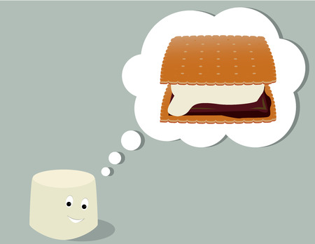 Smiling marshmallow thinking of a smore all on a gray background Stok Fotoğraf - 6468307