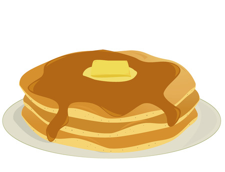 Three pancakes covered in syrup and butter stacked on a plate all on a white background