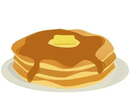 hot cakes: Tres panqueques cubiertas de jarabe y mantequilla apilan en un plato todo sobre un fondo blanco