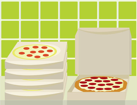 Pizza and boxes on a counter with a green tile wall