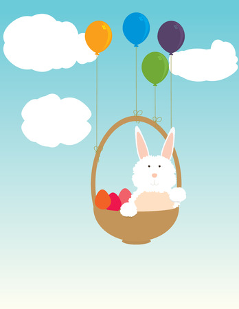 Easter bunny in a basket floating with the help of ballons in a blue sky with clouds
