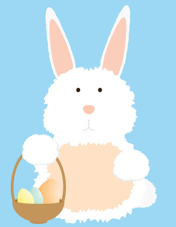 White bunny with a basket of Easter eggs on a light blue background