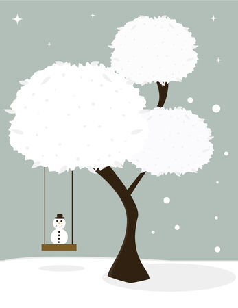 Tree with white snowy leaves and a tree swing seating a small snowman on a wintry background