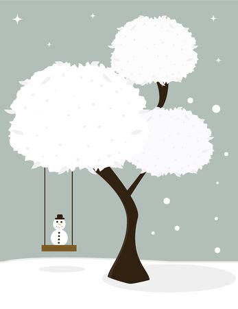 Arbre avec des feuilles de snowy blancs et un swing arbre sièges un petit bonhomme de neige sur un fond hivernal