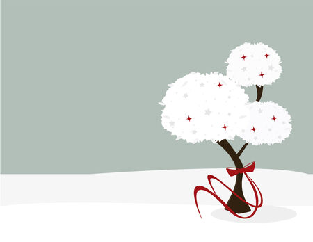 A wintery tree with a red bow around its trunk in a snowy background with space for copy