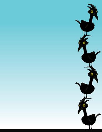 서로 다른 머리에 서있는 파란색 배경에 검은 새