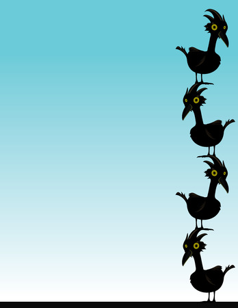 black birds on a blue background standing on each others heads
