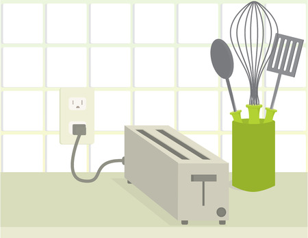 plugged: Plugged in toaster on a counter with a whisk and spatula and spoon