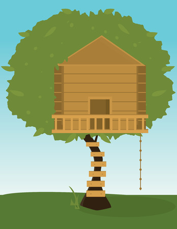 Tree with wooden treehouse and climbing rope  Illustration