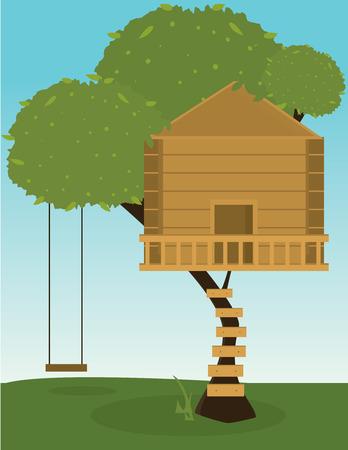 Boom met houten treehouse en swing van boom