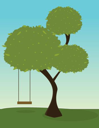 Groene boom met boom segmenten en een schommel op een outdoor achtergrond Stock Illustratie