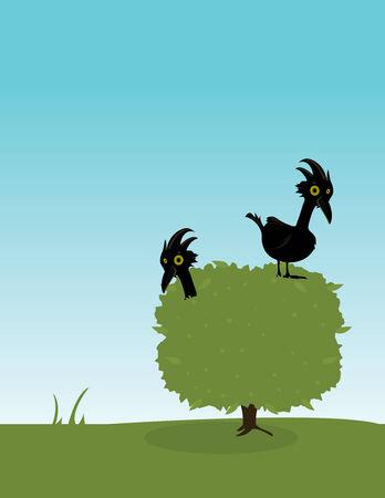 Twee vliegen in een groene struik stellen buitenshuis  Stockfoto - 6468230